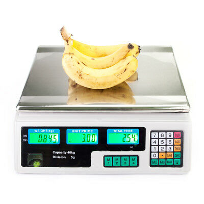 Digital Weight Scale 88LB Price Computing Food Meat Scale Produce Market