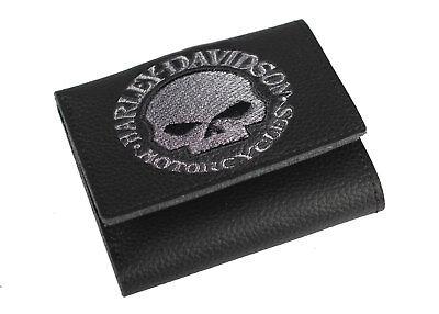 Harley-Davidson® Men's Willie-G Skull Black Leather Tri-fold Wallet XML6145