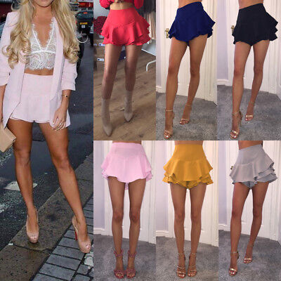 Women Fashion Party Cocktail High Waisted Skater Mini Skirt Summer Shorts US