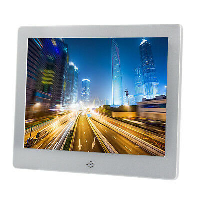 """8"""" Digital Photo Frame Silver Metal Frame LED Picture Video Player"""