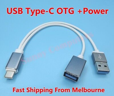 Type-C to USB Female OTG Adapter Cable Cord With Power For Pixel 2 3 3a 4 XL AU