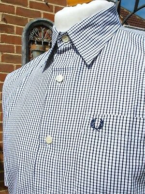 Fred Perry White Micro-Gingham Shirt - L/XL - Ska Mod Scooter Casuals Vintage