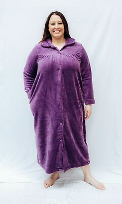 Ladies S-XXL Givoni (40) Buttons Premium Collar Dressing Gown Long Robe Blue