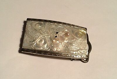 Vintage Sterling Carved Mother Of Pearl Asian Motif Dragon Buckle