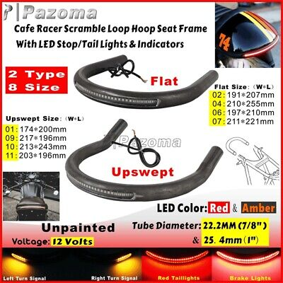 Cafe Racer Scrambler Rear Seat Frame Hoop Loop with LED Brake Turn Tail Lights