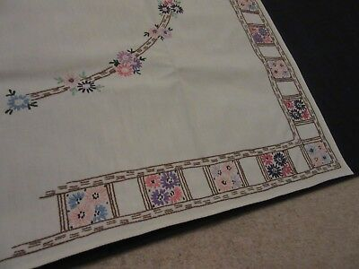 Gorgeous Vintage Hand Embroidered Square Tablecloth in Very Good Condition