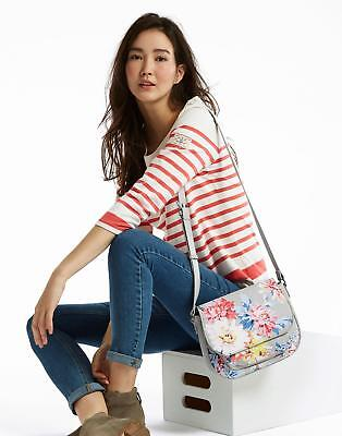 Joules Darby Print Pu Saddle Bag in Grey Whitstable Floral in One Size