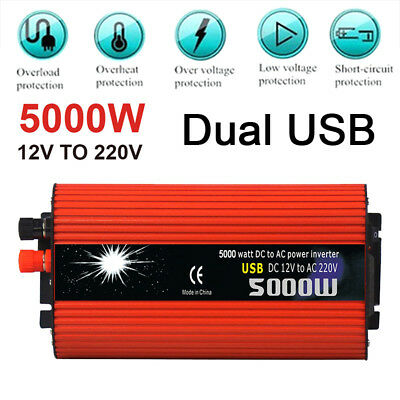 5000W LED Display Inversor de energia 12v/24V DC to 220V AC Sine Wave Converter