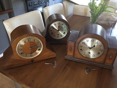 3 X 1930's Mantle Clocks For Spares Or Repair