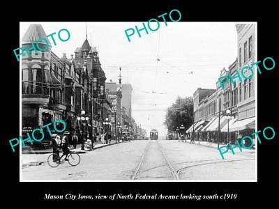 OLD LARGE HISTORIC PHOTO OF MASON CITY IOWA, Nth FEDERAL AVE & STORES c1910
