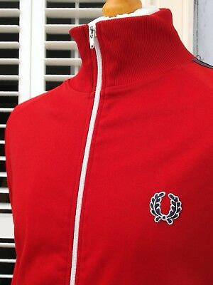 Fred Perry Red Twin Taped Harrington Track Jacket - L/XL - Ska Mod Scooter Skins