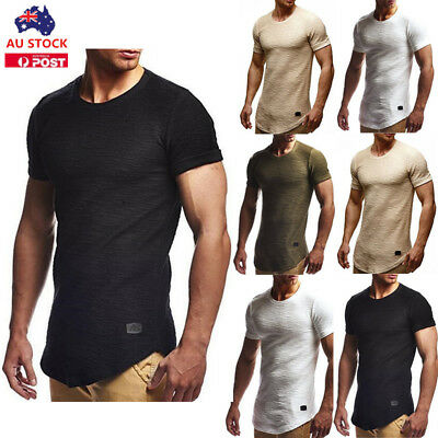 Men's Crew Neck Short Sleeve Muscle Shirt Tee Summer Casual Slim Fit Tops M-2XL