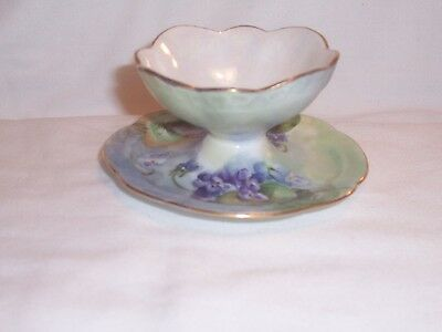 Antique Rosenthal Footed Dish On Stand w/ Violets