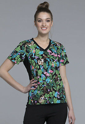 Tropical Tango Cherokee Scrubs Flexibles V Neck Knit Panel Top CK611 TRTG