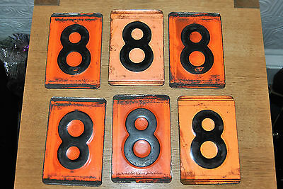 SINGLE Vintage Industrial Pressed Metal Orange Black Number 8. Railway, Wagon