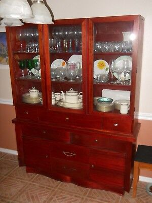Mid Century solid wood China cabinet w/bubble glass, desk, dovetail joints. VG !