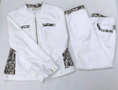 Chicos White Denim Outfit Jacket & Jeans Animal Print Leopard 2 Piece  1/0 Small