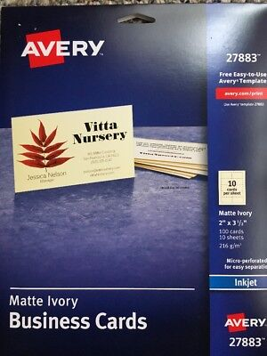 avery ivory matte business cards 2 x 3 5 inches 100 cards 27883