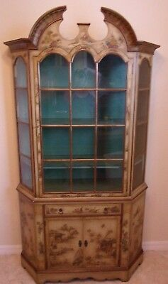 Rare Vintage Asian Green Chinoiserie China Cabinet Closet Display Ornate Detail