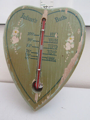 Vintage Baby Bath Wooden Thermometer Heart Shaped