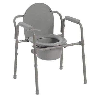 NEW Drive Medical Steel Folding Bedside Commode Handicap Grey Powder Coated 350#