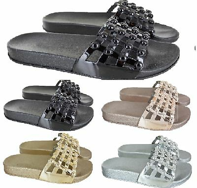Ladies Flat Slip On Sliders Womens Summer Comfy Studded Beach Cage Shoes Sz 3-8