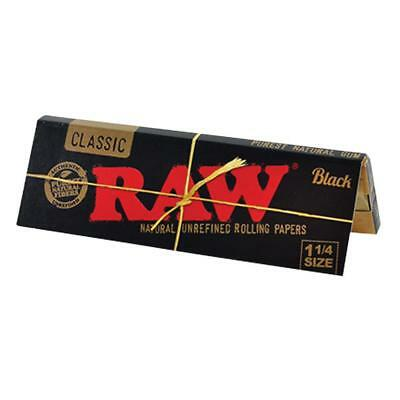 3x Packs RAW Classic Black 1 1/4 ( 50 Leaves / Papers Each Pack ) Rolling Thin