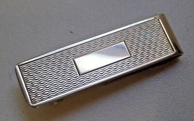 Vintage Hallmarked P&S Silver Engine Turned Money Clip - 1991 Art Deco Style