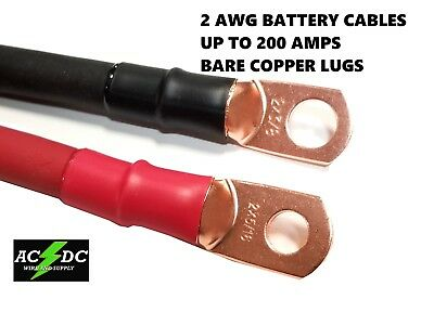 2 Gauge Copper Battery Cables Power Wire Car, Carts. Truck, Inverter, RV, Solar
