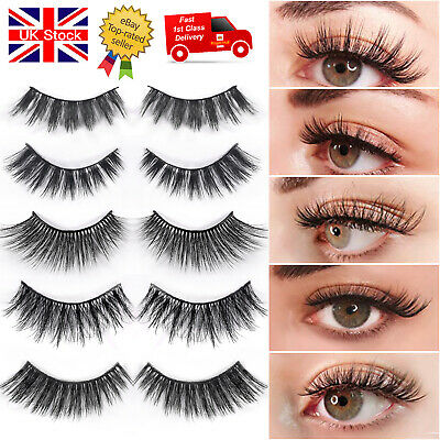 5/10 Real 3D Mink Hair Natural False Eyelashes Thick Soft Fake Eye Lashes Wispy