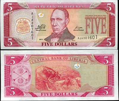 Liberia 5 Dollars 2011 P 26 New Unc Lot 5 Pcs