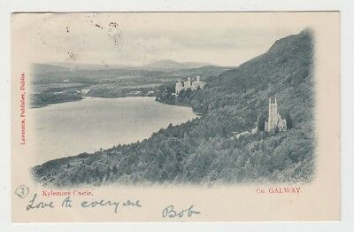 View to Kylemore Castle & Abbey church 1903 (Lawrence) postcard Galway Ireland
