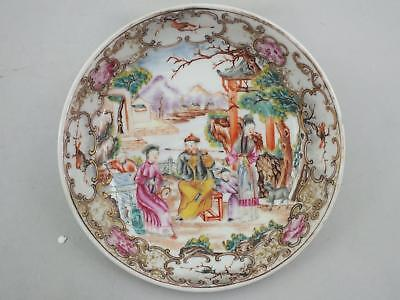 A GOOD 18thC CHINESE PORCELAIN SAUCER WITH PAINTED FIGURES IN A GARDEN SCENE