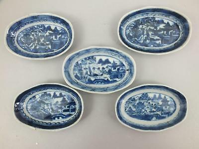 FIVE SMALL CHINESE PORCELAIN DISHES WITH BLUE/WHITE  LANDSCAPE DECOR e19thC