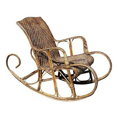 Very Large French Art Deco Rocking Chair Exotic Wood Circa 1950s. AS IS