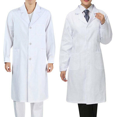 Women Men Lab Coat Medical Doctor Coats Long Jackets Nursing Clothes White US