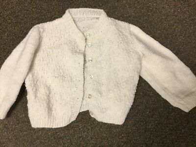 Vintage Girls Clothes White Sweater Buttons Over 25 Years Old Baby Infant