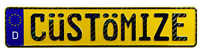 Custom Yellow European German License Plate with VALID Hologram