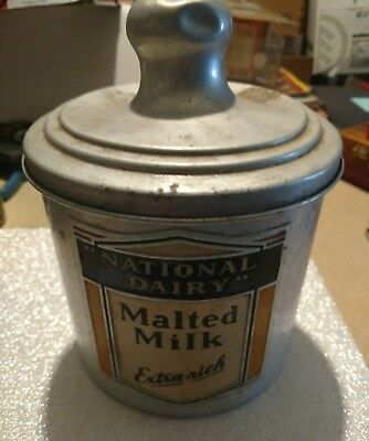 Vintage NATIONAL DAIRY Malted Milk Tin Canister w/Lid