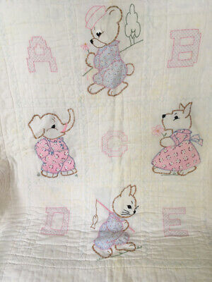 "Antique ""ABC"" Crib Quilt, Handmade, Appliqued ,Embroidered & Hand Quilted #15356"