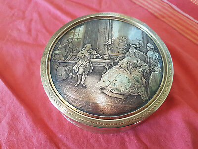 Antique 19th B.wicker GR Silver Plate and brass France made  large container