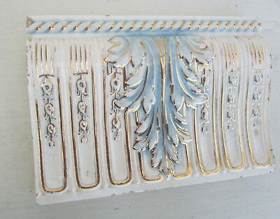 """A.E.Tile. Co 6"""" x 4 1/4"""" Off White with Blue and Gold Acanthus Leaf"""