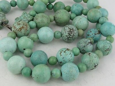 """VINTAGE Chinese Carved Turquoise Large Beads NECKLACE 29"""" long"""