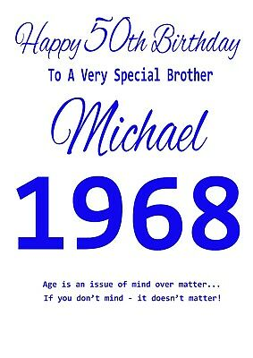 Personalised Birthday Card Brother Friend Dad Any 18th 21st 30th 40th 50th Etc