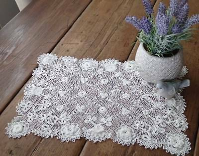 Roses & Clovers Antique IRISH CROCHET LACE Doily or Tray Cloth