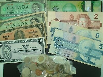 Old & Modern Canadian Coins & Currency Lot (95-COINS) (9-NOTES)  **NO RESERVE**