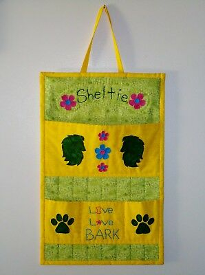 Sheltie Hand Quilted Wall Hanging Pocket Organizer Handmade Embroidered Applique