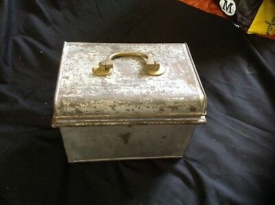 Early metal box, cash lunch tin with brass handle