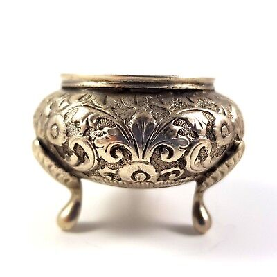 Antique Indian Solid Silver Salt Cellar Pot Bowl