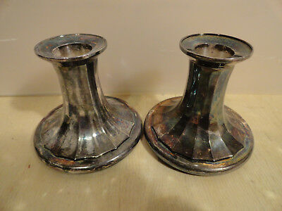 Pair of Heavy Stubby Vintage 70/80s Viners Alpha Silver Plate Candlesticks